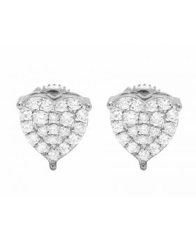 Ladies 10K White Gold Real Diamond Heart Prong Stud Earrings 0.50ct 9MM