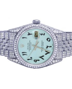 Rolex Datejust 36MM 16014 Ice Blue Dial Diamond Watch 14.0 Ct