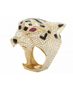 Men's 14K Yellow Gold Genuine Diamond Panther Custom Pinky Ring 8 1/2 CT