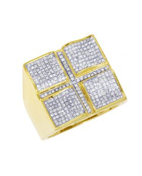 Mens Yellow Gold Four Square Wave Pinky Ring 0.8 CT