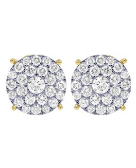 Yellow Gold 4 Prong 4.25CT Diamond Flower Cluster Earrings 18mm
