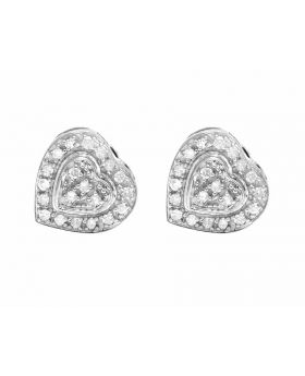10K White Gold Real Diamond Ladies Heart Earring Studs .25ct 8mm