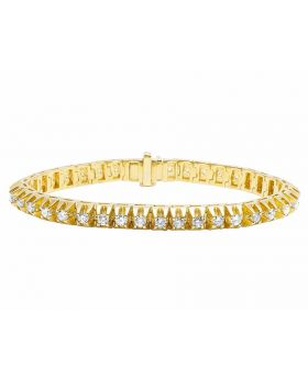 10K Yellow Gold Men's Real Diamond Raised Prong Bracelet 7ct 7MM