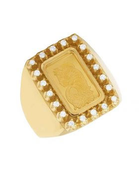 Men's 10K Yellow Gold 1G Lady Fortuna Diamond Ring 0.25 Ct 21MM