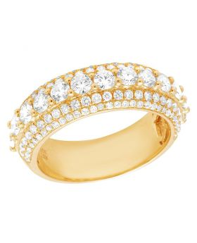 10K Yellow Gold Diamond Solitaire Wedding Band Ring 3 CT 8MM