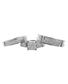 10K White Gold Square Top Real Diamond Trio Set Engagement Band Ring 0.50 Ct