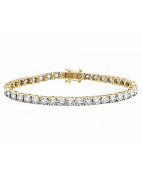 10K Yellow Gold Real Diamond Tennis Bracelet 1 1/2 CT 5MM