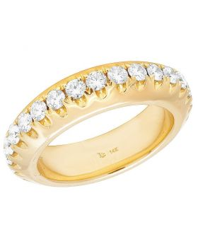 14K Yellow Gold Diamond Solitaire Eternity Wedding Band Ring 3 CT 6.5MM