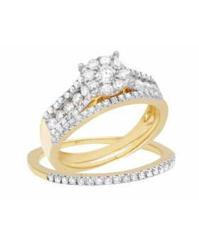 Ladies 10K Yellow Gold Real Diamond 2 Piece Engagement Ring Set 1 1/4 CT