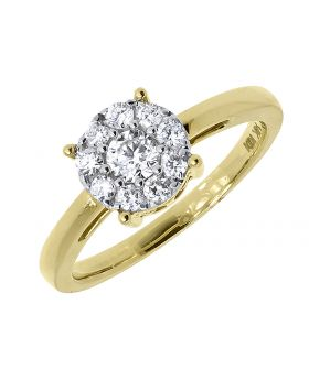 Cluster Diamond Engagement Ring in 14k Yellow Gold (0.65 ct)