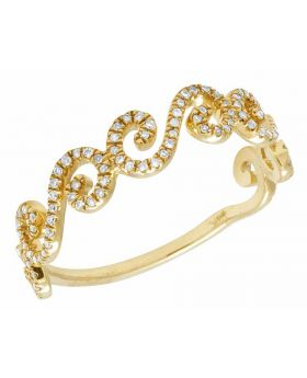 Ladies 14K Yellow Gold Real Diamond Swirl Twisted Band Ring .25ct