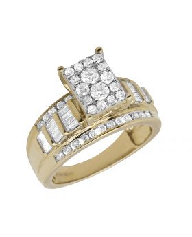 Ladies 10K Yellow Gold Baguette Real Diamond Engagement Ring .50ct