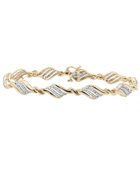 Ladies 10K Yellow Gold Twisting Real Diamond Designer Bracelet .65 ct