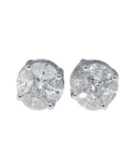 Diamond Solitaire Stud Earrings in 14k White Gold (2.25 Ct)