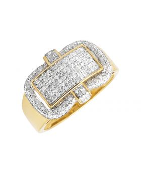 Men's Yellow Gold Pave Genuine Diamond Pinky Ring (0.45 ct)