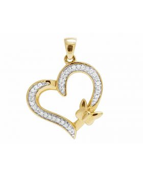 Ladies 10K Yellow Gold Real Diamond Butterfly Heart Pendant 0.10ct