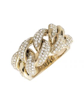 14K Yellow Gold Miami Cuban Link Style Diamond Statement Ring (2.75ct)
