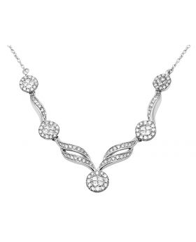 Ladies 14K White Gold Real Diamond Designer Necklace Chain 1.3ct 9""