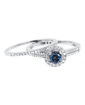 14k White Gold Blue Solitaire Diamond Bridal Ring Set (0.93 ct)