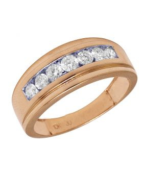 10K Rose Gold Real Diamond 7 Stone Channel Band Ring 1 CT 9MM