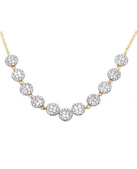 Ladies 14K Yellow Gold Real Diamond Princess Cluster Necklace Chain 2.55ct