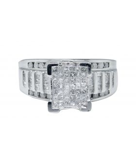 Sterling Silver Princess Cut Diamond Engagement Ring (1.0 Ct)
