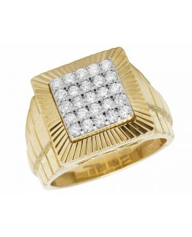 10K Yellow Gold Real Diamond Square Presidential Pinky Ring 1.0Ct