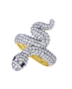 Ladies Yellow Gold Diamond Snake Ring 29mm 2.25 CT