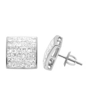 14K White Gold Princess Real Diamond Square Stud Earrings 2.0ct