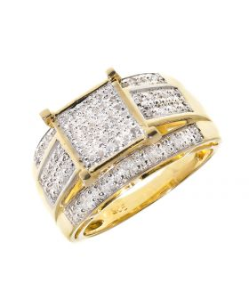 Pave Diamond Engagement/Fashion Ring in Yellow (0.50 ct)