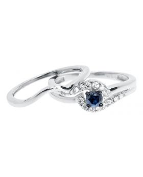 14k White Gold Blue Diamond Solitaire Bridal Engagement Ring Set (0.50 ct)