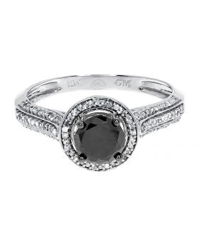 Black Diamond Solitaire Ring in White Gold (1.0 ct)