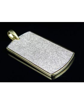Yellow Gold Mens Ice Out Dogtag Genuine Diamond Pendant 3.5Ct 1.9""