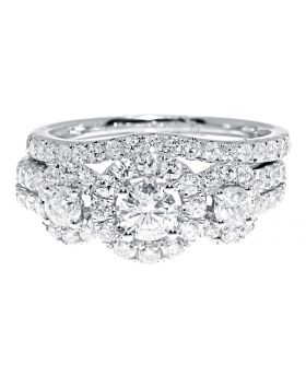 3 Stone Halo Bridal Ring Set in 14k White Gold (1.50 ct)