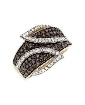 10K Yellow Gold Leaf White and Cognac Brown Diamond Band Ring (1.0ct.)