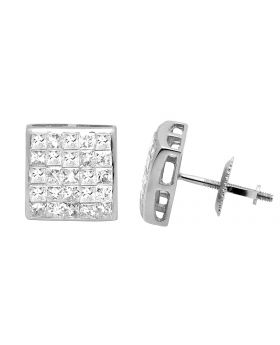 14K White Gold Princess Real Diamond Square Stud Earrings 1.0ct