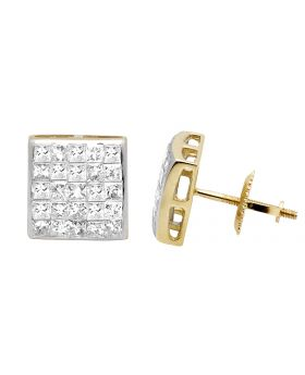 14K Yellow Gold Princess Real Diamond Square Stud Earrings 1.0ct