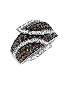 10K White Gold Leaf White and Cognac Brown Diamond Band Ring (1.0ct.)