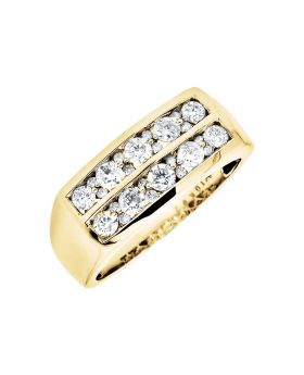 10K Yellow Gold Two Row Genuine Diamonds Wedding Band Ring 1.0Ct