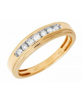 Yellow Gold Mens 1 Row Channel Genuine Diamond Ring Band 0.25Ct 5MM