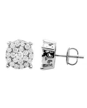 10K White Gold Real Diamonds Round Cluster Studs Earring 1.0ct