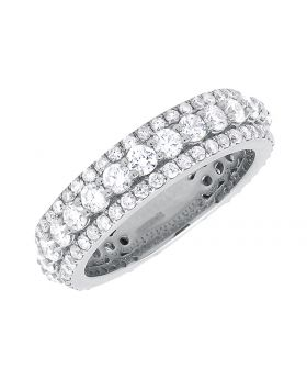 Round Diamond Eternity 6mm Wedding Band Ring in White Gold (3.03 ct)