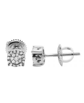 10K White Gold Real Diamonds Round Cluster Studs Earring 0.18ct