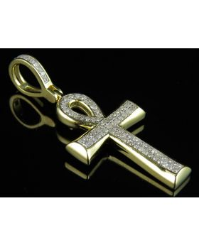 10K Yellow Gold Ankh Cross Micro Pave Diamond Pendant 0.33ct