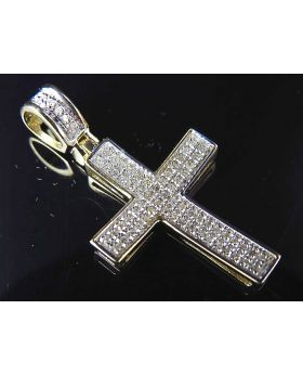 10K Yellow Gold Genuine Diamond Mini Cross Pendant (.33ct) 1.25""