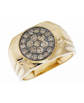 Men's 10K Yellow Gold Real Brown Diamond Pinky Ring .80ct 14MM