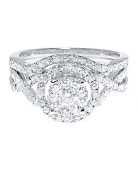 10k White Gold Ladies Diamond Twisted Shank Bridal Engagement Ring Set (1.0 ct)