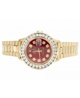 18K Ladies Yellow Gold Rolex 69178 Presidential Datejust with 3.85 Ct Diamond