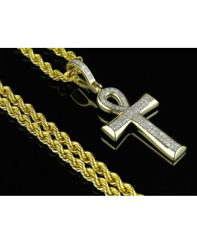 10K Yellow Gold Ankh Cross Micro Pave Pendant Chain Combo 0.33ct