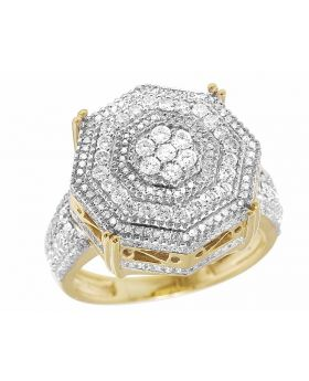 Mens 10K Yellow Gold Genuine Diamond 3D Octagon Wedding Pinky Ring 2 2/5 CT 19MM